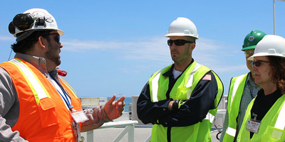 Workers discussing safety