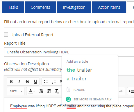 Grammarly with Wellsite Report