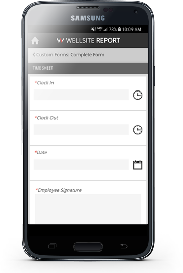 Image of a custom form as a timesheet
