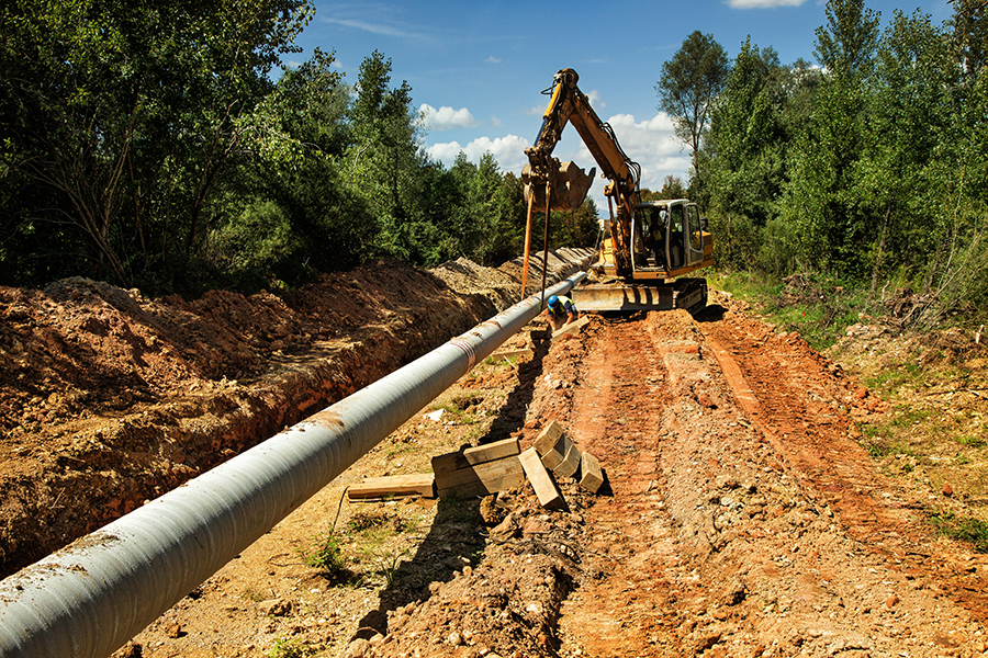 Earth digger at gas pipeline